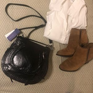 Rebecca Minkoff small vanity saddle in black.